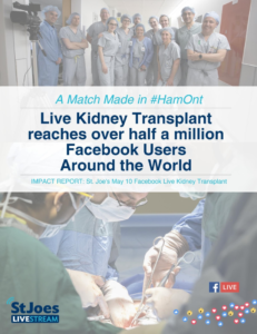 St. Joseph's Health Care Hamilton live-stream of a kidney transplant
